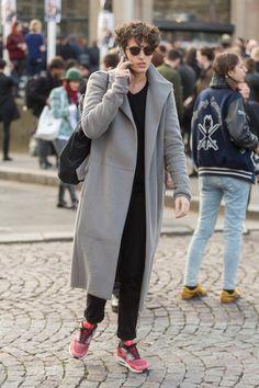 sneakers hair coat sunglasses tumblr men style fashion
