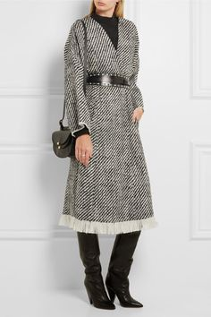 Black and white wool-blend tweed Slips on 92% wool, 8% polyamide; lining: 100% cotton; trim: 70% cotton, 30% viscose Dry clean Imported