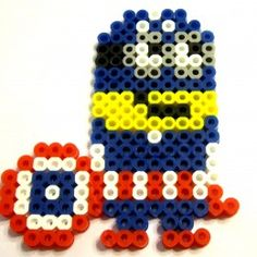 A Captain American Minion made from Perler beads!