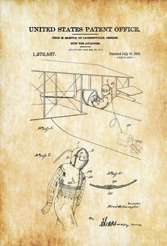 Vintage blueprints for famous inventions pinterest vintage aviator suit patent airplane blueprint vintage aviation art airplane art pilot gift malvernweather Gallery
