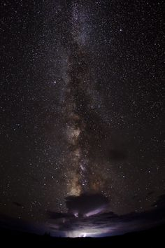 Milky way with lightning