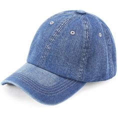 Denim Baseball Cap ($9.52) ❤ liked on Polyvore featuring accessories, hats, baseball caps, ball cap, baseball hat, denim hats and denim baseball hat