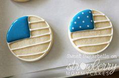 American Flag Cookie Tutorial by Sweet Sugarbelle Patriotic Sugar Cookies, No Bake Sugar Cookies, Royal Icing Cookies, How To Make Cookies, Yummy Cookies, Cupcake Cookies, Royal Frosting, Onesie Cookies, Cookie Icing