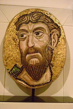 Mosaic Head of an Apostle stone glass and gold leaf Byzantine from the Church of Santa Maria Assunta Torcello Italy made about 1075-1100 CE restored in the 1100s and 1800s