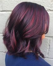 Super Hair Color Red Highlights Burgundy Haircuts Ideas – Terrille Jacobson – - All For Hair Color Trending Red Highlights In Brown Hair, Red Brown Hair, Burgundy Hair, Colored Highlights, Purple Hair, Burgundy Color, Color Black, Hair Color Auburn, Hair Color For Black Hair