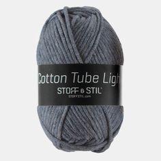 Garn cotton tube light blå melange