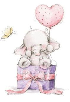 New Wild Rose Studio Clear cling rubber stamp BELLA BIRTHDAY Elephant FREE US SH #WildRoseStudi