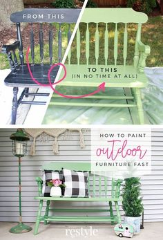 How to Paint Outdoor Furniture Fast   Robb Restyle   1000 - Modern#fast #furniture #modern #outdoor #paint #restyle #robb Painting Outdoor Wood Furniture, Homemade Outdoor Furniture, Patio Furniture Redo, Outdoor Furniture Plans, Outdoor Paint, Furniture Makeover, Outdoor Decor, Painted Furniture, Fast Furniture