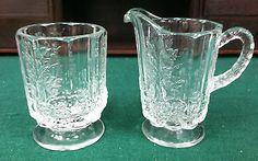 BEAUTIFUL VINTAGE WESTMORELAND GLASS PANELED GRAPE #1881 CLEAR SUGAR & CREAMER