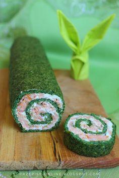 Rolada ze szpinakiem i wędzonym łososiem Other Recipes, Sushi, Food And Drink, Menu, Ethnic Recipes, Blog, Menu Board Design, Menu Cards
