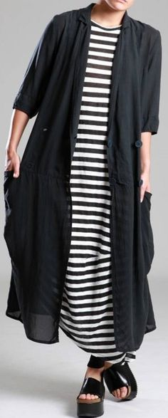 Love everything -- dress (although I'm kinda over the stripes), DUSTER, and SHOES  ~~   LURDES BERGADA ♥FCL