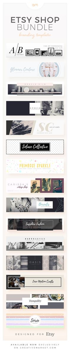 This collection is ideal for Etsy shop owners who want a professional shop front without the hassle. Vintage clothing, ceramics, beads, hand-made crafts, photography, knitting… it doesn't matter what you sell, we have a template for you. Each branding template package includes a large Cover Photo, small Shop Banner, three Shop Icons (Normal, Sale & Away) and three Profile Photos (Normal, Sale & Away) so everything in your shop branding is covered.
