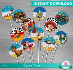 INSTANT DOWNLOAD Toy Story Cupcake Toppers Print Yourself