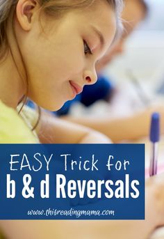 """I still prefer the """"make a bed"""" with your hands strategy, but this is interesting too. Easy Trick for B and D Reversals PLUS a Free printable poster for the classroom 1st Grade Writing, Kindergarten Writing, Teaching Writing, Teaching Tips, Writing Skills, Writing Games, Reading Games, Reading Groups, Reading Skills"""