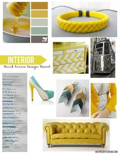 Buick Encore Design Board - Interior Inspiration. Yellow leather, turquoise stitching, subtle chevron pattern, and chrome accents = smile inducing environment! #pinmyencore