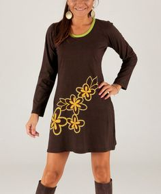 Another great find on #zulily! Brown & Yellow Floral Scoop Neck Dress #zulilyfinds