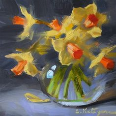 "Daily Paintworks - ""Daffodils on Gray"" - Original Fine Art for Sale - © Elena Katsyura"