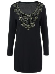 Embroidered Decorated Long Sleeve Dress