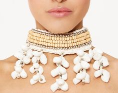 Beaded Shell Choker Necklace