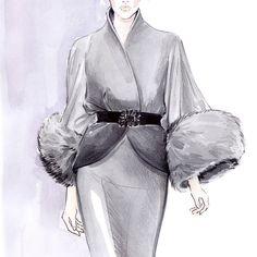 """inspiration - Monique Lhuillier Fall 2008 #fashion #illustration #fashionillustration #moniquelhuillier #fashionart #artist #lenaker #artwork…"""