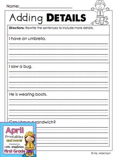 Adding details to simple sentences - First Grade Spring Themed Printables