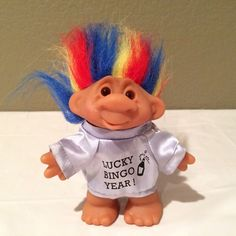 "Vintage 1986 DAM Lucky Rainbow Hair Troll Baby/Doll  5"" tall Lucky Bingo Year #Dam #Dolls"