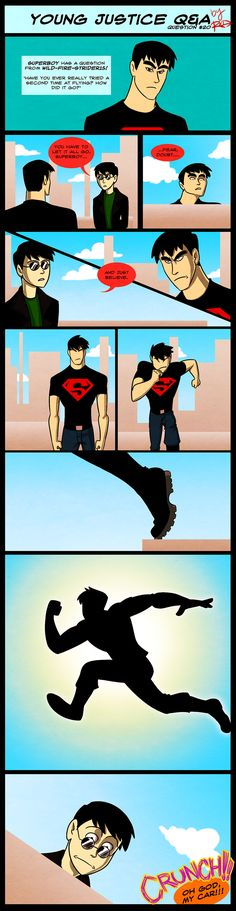 Young Justice Robin attempts to train Superboy... Matrix style. xD [ YJQandA- Fly Program by AnArtistCalledRed on deviantART. ]
