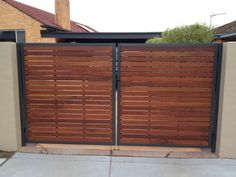 Mako-Fencing-Merbau-Slat-Powdercoated-Steel-Frame-Gate - LIke frame width, color scheme Wooden Gate Designs, Gate Designs Modern, Modern Fence Design, Front Gate Design, Door Gate Design, House Gate Design, Steel Gate Design, Side Gates, Front Gates