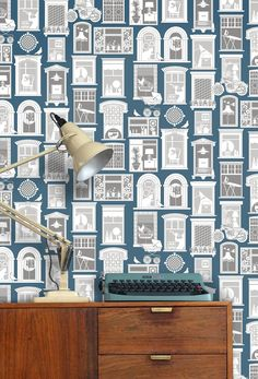 Image of  One Day Wallpaper in Washed Denim | Mini Moderns