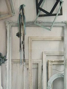 Paint distressed gray or shabby white, hang a Christmas wreath in the middle.