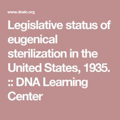Legislative status of eugenical sterilization in the United States, :: CSHL DNA Learning Center Slavery In The Usa, Learning Centers, Dna, United States, The Unit, Gout