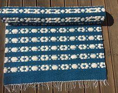 Myntelrugs floor runner, Scandinavian style rug, marine blue white floor runner, woven on the loom, handmade rug, cotton rug, washable, ready to ship.