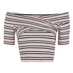Petite Topshop Stripe Off the Shoulder Crop Top (€31) ❤ liked on Polyvore featuring tops, topshop, short sleeve tops, stripe top, criss cross top and criss cross crop top