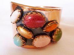 Renoir Matisse Modernistic Glass Beaded Copper Cuff