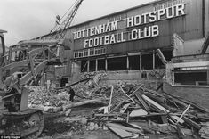 Demolition work starts on the ageing West Stand in 1980 as Tottenham look to modernise White Hart Lane. The work took over a year to complete and went over budget leaving the club's finances in an unhealthy state at the time Enfield Middlesex, Tottenham Hotspur Football, Spurs Fans, White Hart Lane, End Of An Era, North London, Old West, Old Things, Decks