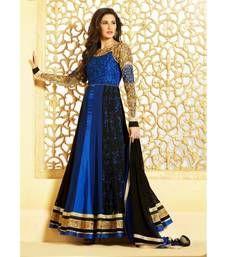 Buy Royal blue color designer semi stitched embroidered anarkali suit anarkali-salwar-kameez online