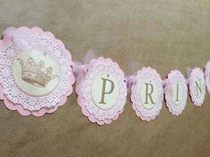 Princess pink Baby Shower / Little Princess birthday banner This banner measures 46 inches long with approx 15 extra inches of pink organza ribbon Little Princess, Vintage Princess, Baby Shower Princess, Princess Birthday, Gold Birthday, Baby Birthday, Princess Party, Paper Doilies, Shower Banners