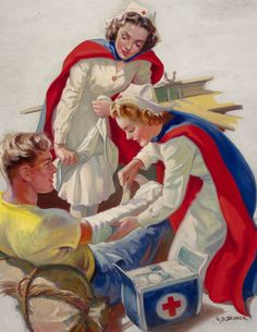Helping the Wounded - probable WWII Red Cross recruitment advertisement - illustrated By Ellen Barbara Segner.