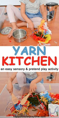 Yarn Kitchen - HAPPY TODDLER PLAYTIME Here is a super fun sensory and pretend play activity that is super easy to clean up! Pretend Yarn Kitchen in a sensory bin! #sensorybin #sensoryplay #preschooleractivity