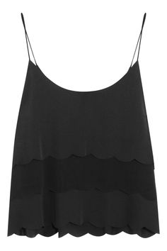 Kate Moss for Topshop|Scalloped satin and chiffon camisole|NET-A-PORTER.COM