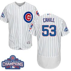 ddedf685690 Cubs  53 Trevor Cahill White Flexbase Authentic Collection 2016 World  Series Champions Stitched MLB Jersey
