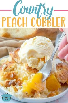 Easy Country Peach Cobbler has the best, soft, cake-like crumble topping! Use canned peaches or fresh peaches. Dessert Cake Recipes, Sweet Desserts, Fruit Recipes, Desert Recipes, Sweet Recipes, Delicious Desserts, Cooking Recipes, Pie Recipes, Easy Recipes