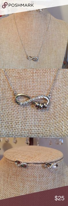 "Silver Infinity Necklace Set Infinity Set. Chain measures 16"" with a 2"" extender. This is brand new. Jewelry Necklaces"