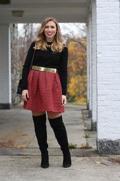 https://flic.kr/p/BqdxYd | Holiday Party Style | Printed Full Skirt | OTK Boots | Faux Fur Coat | www.livingaftermidnite.com