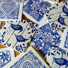 Lino prints – blue and White. do an asian theme for global week, perhaps a foam plate print would be easier to get a great floral etc.
