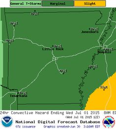 says For The Little Rock Metro & All Of Central Arkansas Thru Thursday: Partly Cloudy & Warm With Isolated To Widely Scattered Showers & Thunderstorms. 1-2  Strong To Severe At Times. Hi's Near 93 With A Heat Index Of 97 Today & 99 Wednesday. Lo's Near 75. Thursday Night - Sunday: Scattered Thunderstorms.1-2 Strong To Severe. Isolated Thunderstorms Sunday Night. Partly Cloudy Monday. Hi's 87-89 & Lo Thursday Night 74 Then Lo's Near 72. Hi Monday 92. For Updates: - www.weather4ar.org…