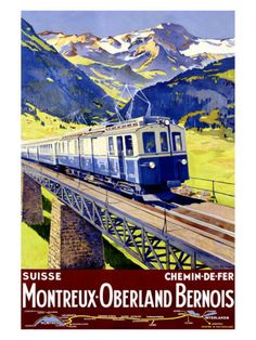 Vintage Travel Poster - Switzerland - Railway. Winter