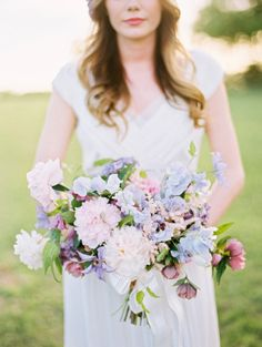 Lavender Sweet Peas & Peruvian Lillies: http://www.stylemepretty.com/2015/04/14/20-pastel-bouquets-for-the-bride/