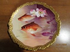 "LIMOGES CORONET 10 1/2"" HANDPAINTED FISH PLATE; SIGNED ""NORYS""; ROCOCO GOLD RIM"