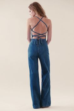 Tangled Up in Blue Jumpsuit, Super foxy vintage 70's backless denim jumpsuit... http://spotpopfashion.com/trend-spotters/jonny-chronnic-denim-trend-spotter/